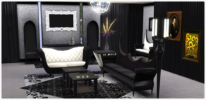 Gothic glamour living room set store the sims 3 for Gothic living room ideas