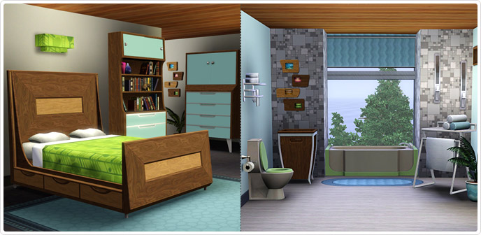 Mid-Century Modern Bed and Bath Set - Store - The Sims™ 3
