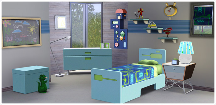 Ultra lounge boys 39 bedroom set store the sims 3 for Sims 3 bedroom designs