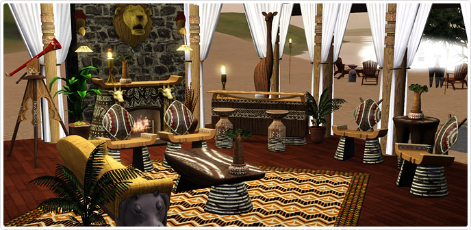 safari living set store the sims 3. Black Bedroom Furniture Sets. Home Design Ideas